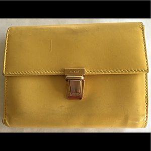AUTHENTIC Vintage Prada Patent Yellow Wallet